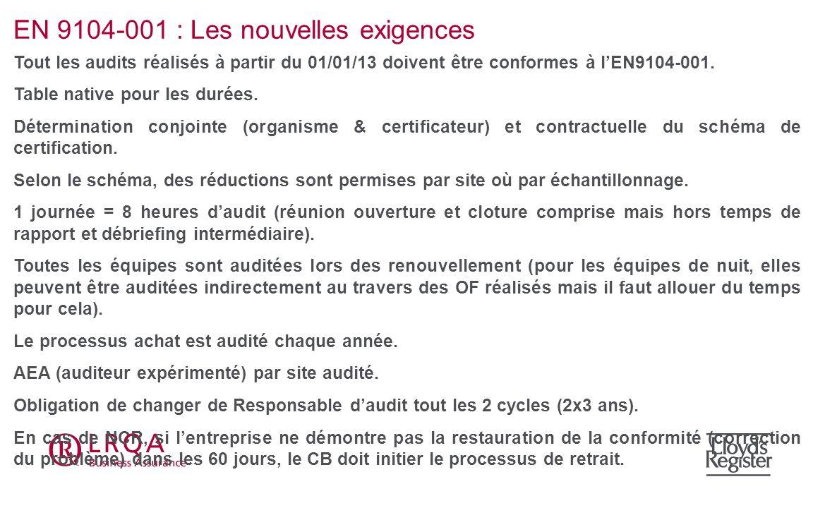 EN 9104-001 : Les nouvelles exigences Tout les audits réalisés à partir du 01/01/13 doivent être conformes à lEN9104-001. Table native pour les durées