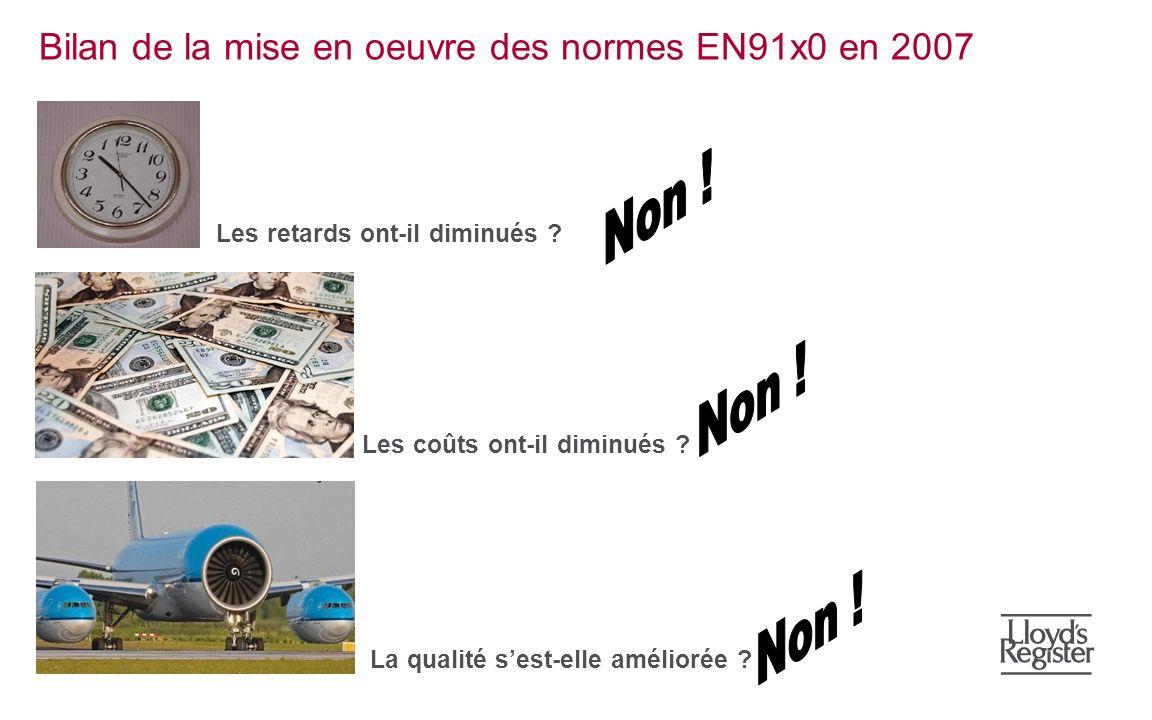Bilan de la mise en oeuvre des normes EN91x0 en 2007 Les retards ont-il diminués ? Les coûts ont-il diminués ? La qualité sest-elle améliorée ?