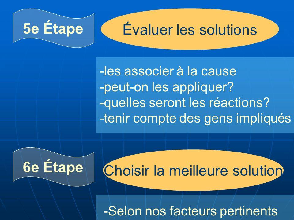 5e Étape 6e Étape Évaluer les solutions Choisir la meilleure solution -les associer à la cause -peut-on les appliquer.