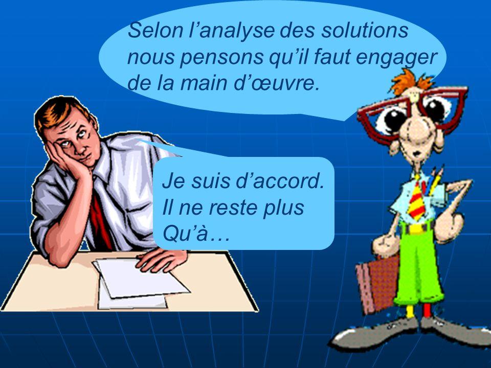 Selon lanalyse des solutions nous pensons quil faut engager de la main dœuvre.