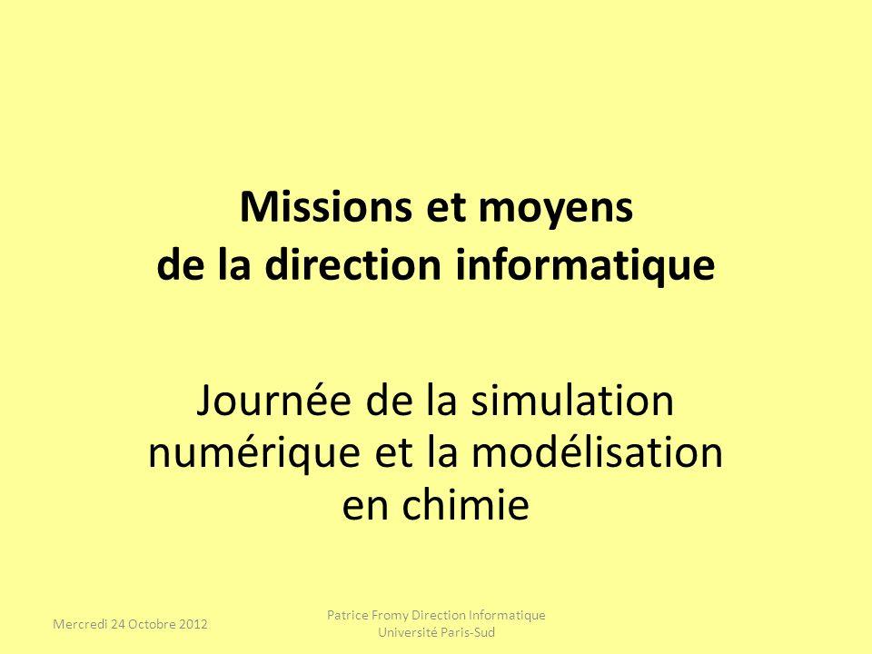 Présentation de la direction informatique (DI) Missions de la Direction Informatique La Direction Informatique met en œuvre la politique en matière de Système dInformation pour répondre aux objectifs liés à la stratégie de lUniversité.