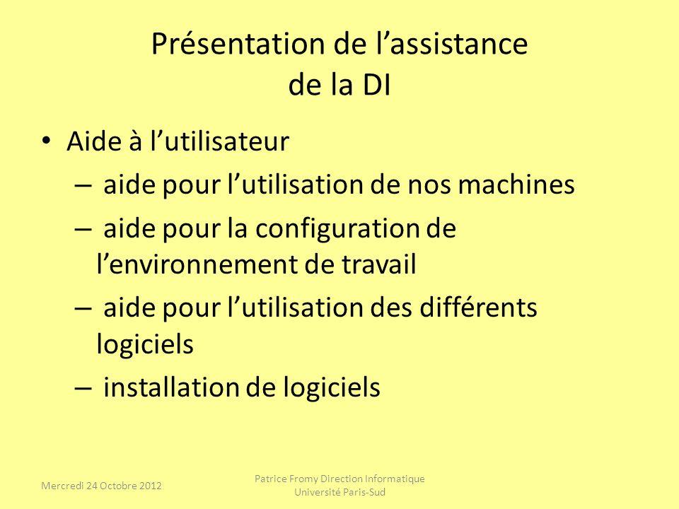 Présentation de lassistance de la DI Aide à lutilisateur – aide pour lutilisation de nos machines – aide pour la configuration de lenvironnement de tr