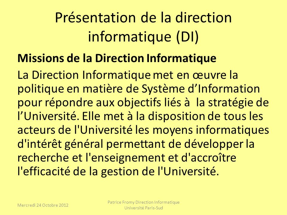 Présentation de la direction informatique (DI) Missions de la Direction Informatique La Direction Informatique met en œuvre la politique en matière de