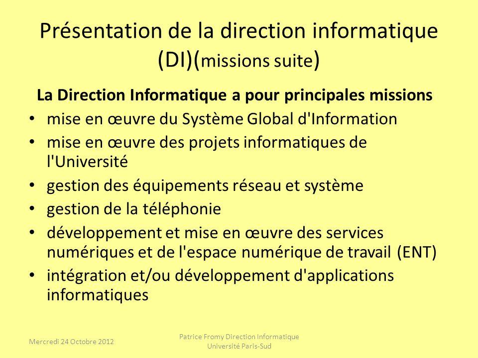 Présentation de la direction informatique (DI)( missions suite ) La Direction Informatique a pour principales missions mise en œuvre du Système Global