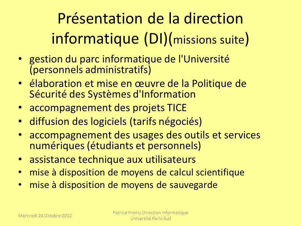Présentation de lassistance de la DI (suite) Pour me joindre de préférence passer par linterface web (heures et jours ouvrables) http:// sos.di.u-psud.fr ou par mail : Patrice.Fromy@u-psud.frPatrice.Fromy@u-psud.fr la page web pour le calcul scientifique : http://www.cri.u-psud.fr/machine/index.html Patrice Fromy Direction Informatique Université Paris-Sud Mercredi 24 Octobre 2012