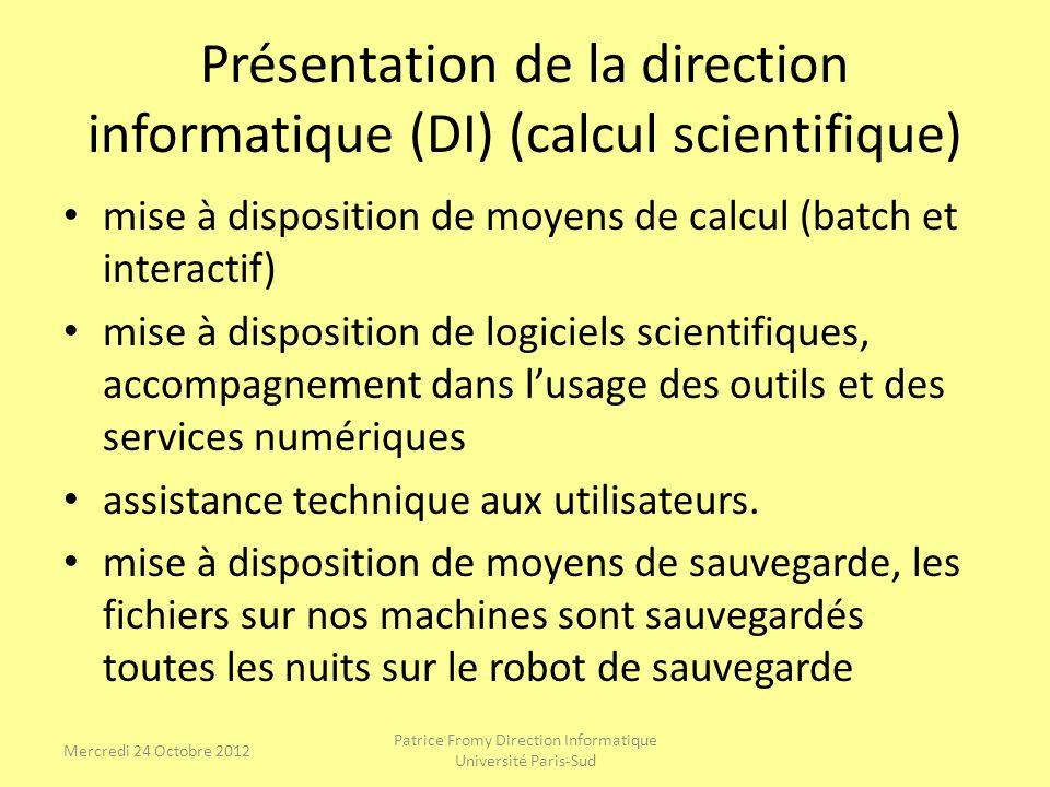 Présentation de la direction informatique (DI) (calcul scientifique) mise à disposition de moyens de calcul (batch et interactif) mise à disposition d