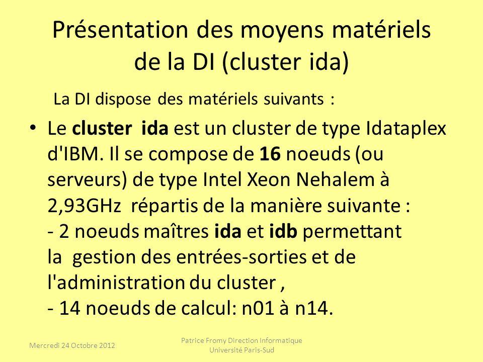 Présentation des moyens matériels de la DI (cluster ida) La DI dispose des matériels suivants : Le cluster ida est un cluster de type Idataplex d'IBM.