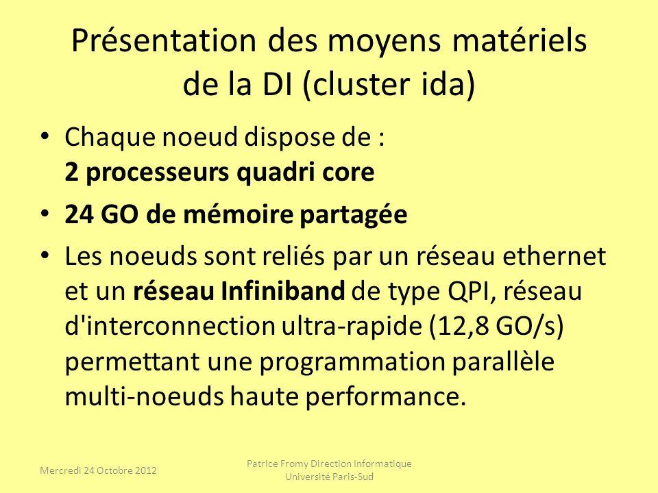 Présentation des moyens matériels de la DI (cluster ida) Chaque noeud dispose de : 2 processeurs quadri core 24 GO de mémoire partagée Les noeuds sont