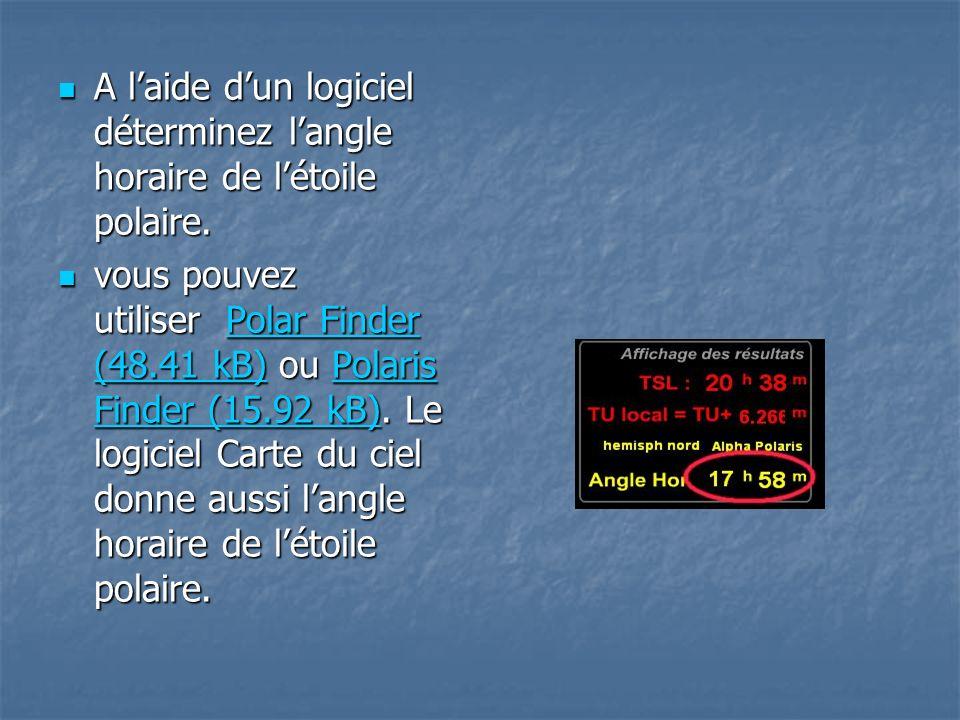 A laide dun logiciel déterminez langle horaire de létoile polaire. A laide dun logiciel déterminez langle horaire de létoile polaire. vous pouvez util
