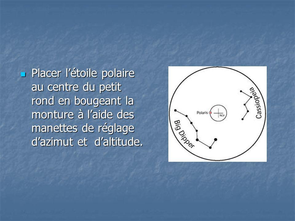 Placer létoile polaire au centre du petit rond en bougeant la monture à laide des manettes de réglage dazimut et daltitude. Placer létoile polaire au