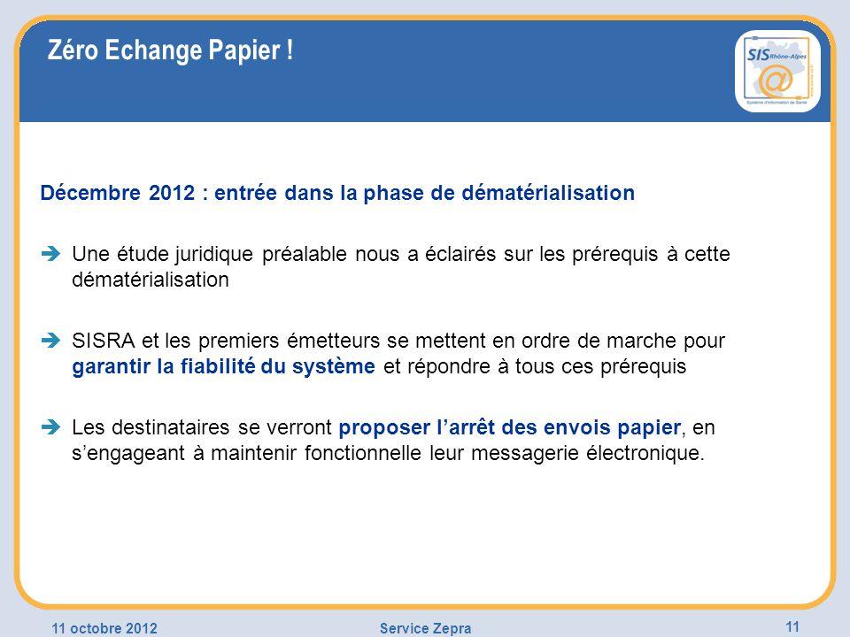 Zéro Echange Papier ! Décembre 2012 : entrée dans la phase de dématérialisation Une étude juridique préalable nous a éclairés sur les prérequis à cett