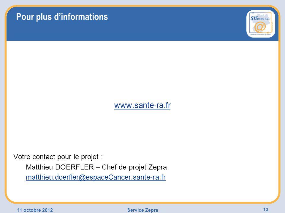 Pour plus dinformations www.sante-ra.fr Votre contact pour le projet : Matthieu DOERFLER – Chef de projet Zepra matthieu.doerfler@espaceCancer.sante-r