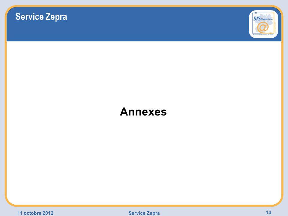 11 octobre 2012Service Zepra 14 Annexes Service Zepra