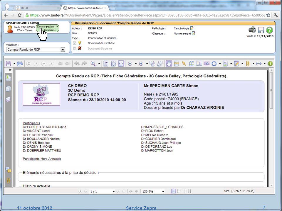 Mise en œuvre opérationnelle de ZEPRA Etapes-clés du projet : suite au lancement 1.Travail sur lannuaire des correspondants : – Recueil des mails et RPPS – Croisement des données avec lannuaire régional SISRA 2.Information des correspondants (PJ au courrier papier) 3.Mise en place dune cellule de gestion des retours : – adresses erronées, – PS opposés à ZEPRA, – PS ne souhaitant plus de courrier papier,...
