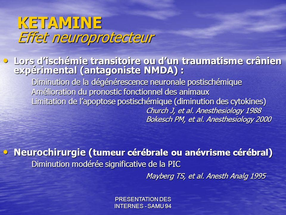 PRESENTATION DES INTERNES - SAMU 94 KETAMINE Effet neuroprotecteur Lors dischémie transitoire ou dun traumatisme crânien expérimental (antagoniste NMD