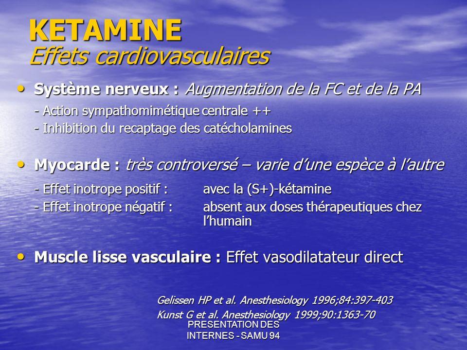PRESENTATION DES INTERNES - SAMU 94 KETAMINE Effets cardiovasculaires Système nerveux : Augmentation de la FC et de la PA Système nerveux : Augmentati