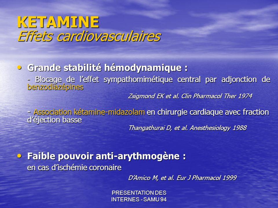 PRESENTATION DES INTERNES - SAMU 94 KETAMINE Effets cardiovasculaires Grande stabilité hémodynamique : Grande stabilité hémodynamique : - Blocage de l
