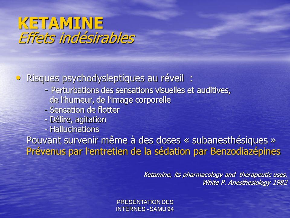 PRESENTATION DES INTERNES - SAMU 94 KETAMINE Effets indésirables Risques psychodysleptiques au réveil: Risques psychodysleptiques au réveil: - Perturb