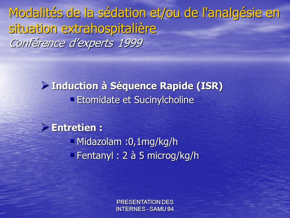 PRESENTATION DES INTERNES - SAMU 94 Modalités de la sédation et/ou de l'analgésie en situation extrahospitalière Conférence dexperts 1999 Induction à