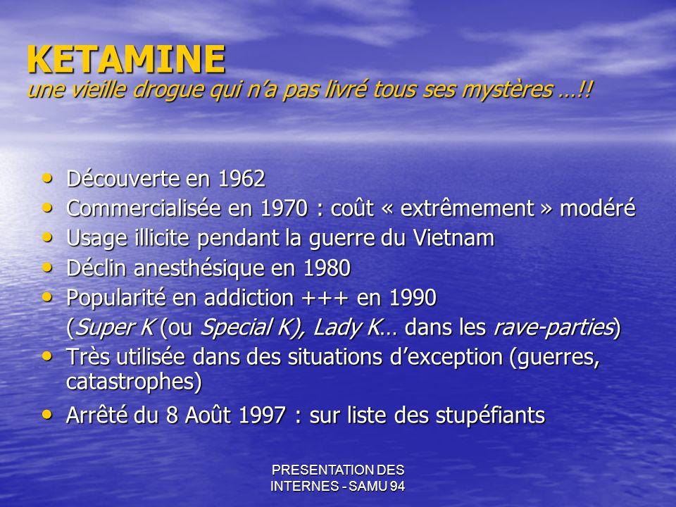 PRESENTATION DES INTERNES - SAMU 94 KETAMINE une vieille drogue qui na pas livré tous ses mystères …!! Découverte en 1962 Découverte en 1962 Commercia