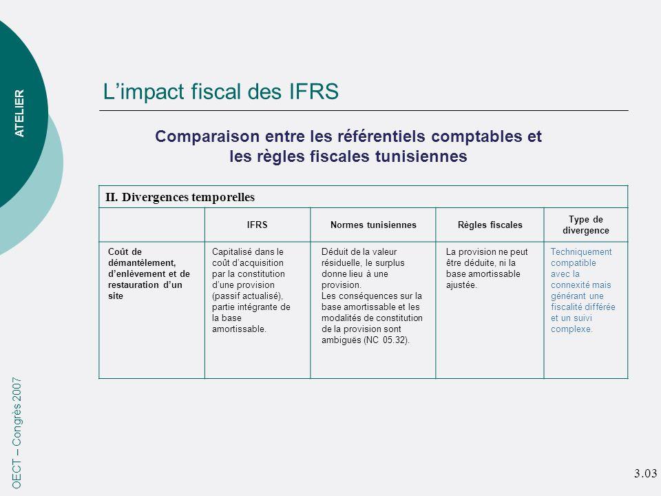 Limpact fiscal des IFRS OECT – Congrès 2007 ATELIER II. Divergences temporelles IFRSNormes tunisiennesRègles fiscales Type de divergence Comparaison e