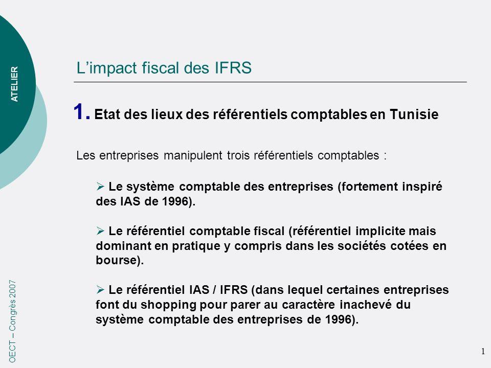 Limpact fiscal des IFRS 1. Etat des lieux des référentiels comptables en Tunisie 1 OECT – Congrès 2007 ATELIER Les entreprises manipulent trois référe