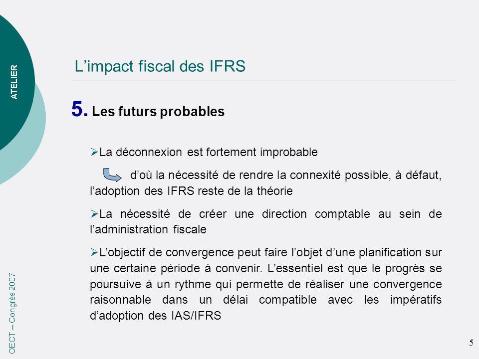 Limpact fiscal des IFRS 5. Les futurs probables OECT – Congrès 2007 La déconnexion est fortement improbable doù la nécessité de rendre la connexité po