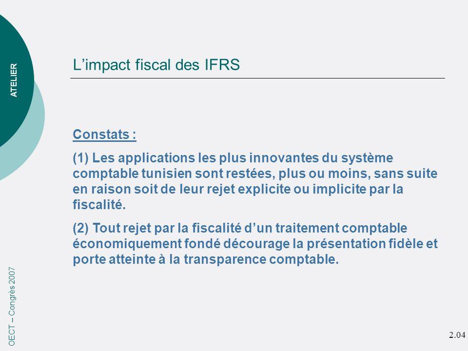 Limpact fiscal des IFRS OECT – Congrès 2007 ATELIER Constats : (1) Les applications les plus innovantes du système comptable tunisien sont restées, plus ou moins, sans suite en raison soit de leur rejet explicite ou implicite par la fiscalité.