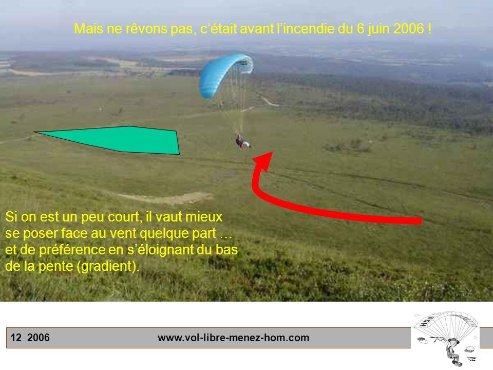 12 2006 www.vol-libre-menez-hom.com Si on est un peu court, il vaut mieux se poser face au vent quelque part … et de préférence en séloignant du bas de la pente (gradient).