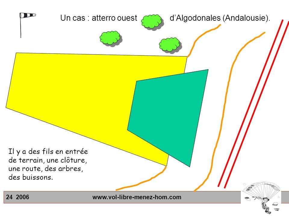 24 2006 www.vol-libre-menez-hom.com Il y a des fils en entrée de terrain, une clôture, une route, des arbres, des buissons.