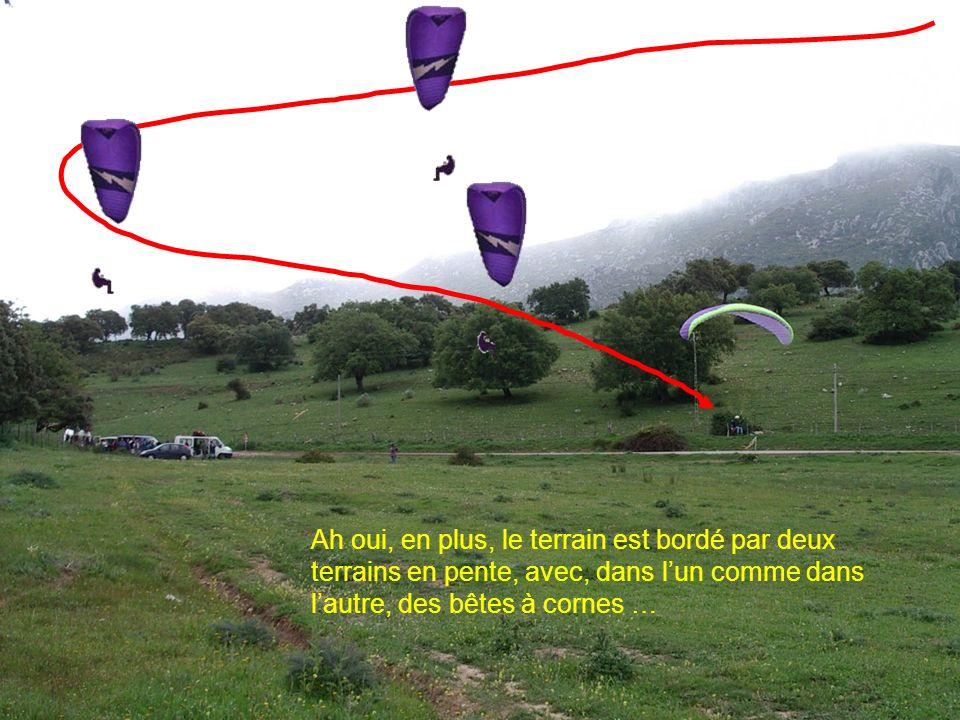 26 2006 www.vol-libre-menez-hom.com Ah oui, en plus, le terrain est bordé par deux terrains en pente, avec, dans lun comme dans lautre, des bêtes à cornes …