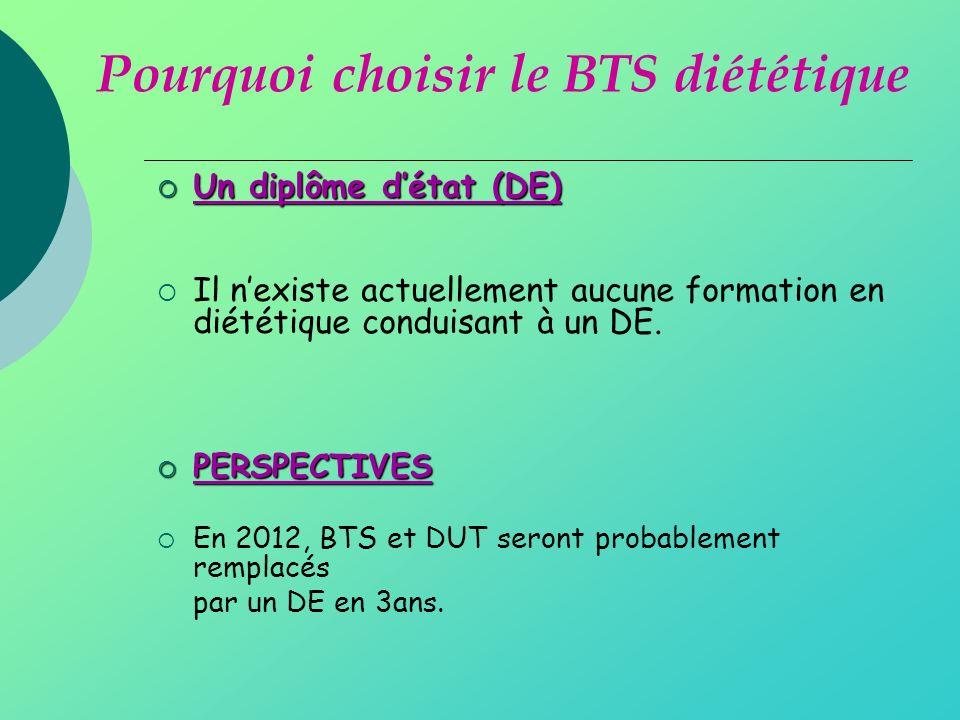 Un diplôme détat (DE) Un diplôme détat (DE) Il nexiste actuellement aucune formation en diététique conduisant à un DE.