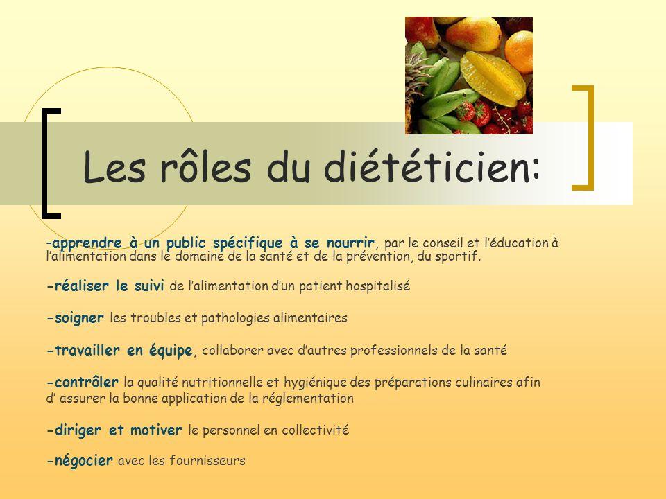 Les rôles du diététicien: -apprendre à un public spécifique à se nourrir, par le conseil et léducation à lalimentation dans le domaine de la santé et de la prévention, du sportif.