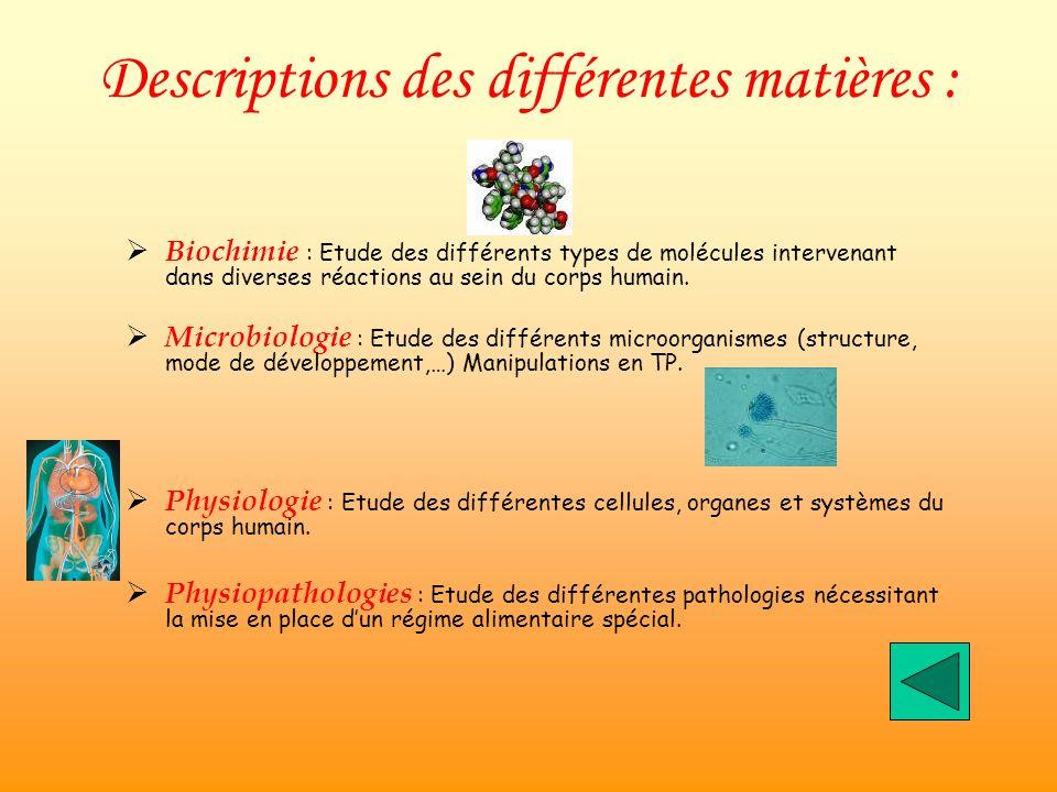 Descriptions des différentes matières : Biochimie : Etude des différents types de molécules intervenant dans diverses réactions au sein du corps humain.