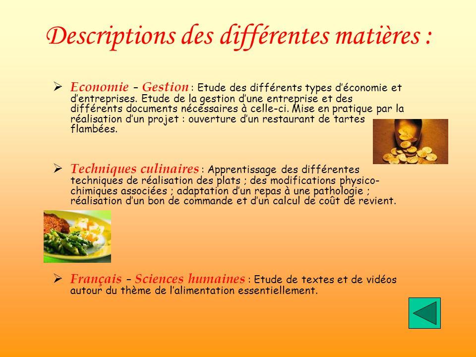 Descriptions des différentes matières : Economie – Gestion : Etude des différents types déconomie et dentreprises.