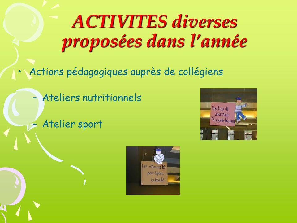 ACTIVITES diverses proposées dans lannée Actions pédagogiques auprès de collégiens –Ateliers nutritionnels –Atelier sport