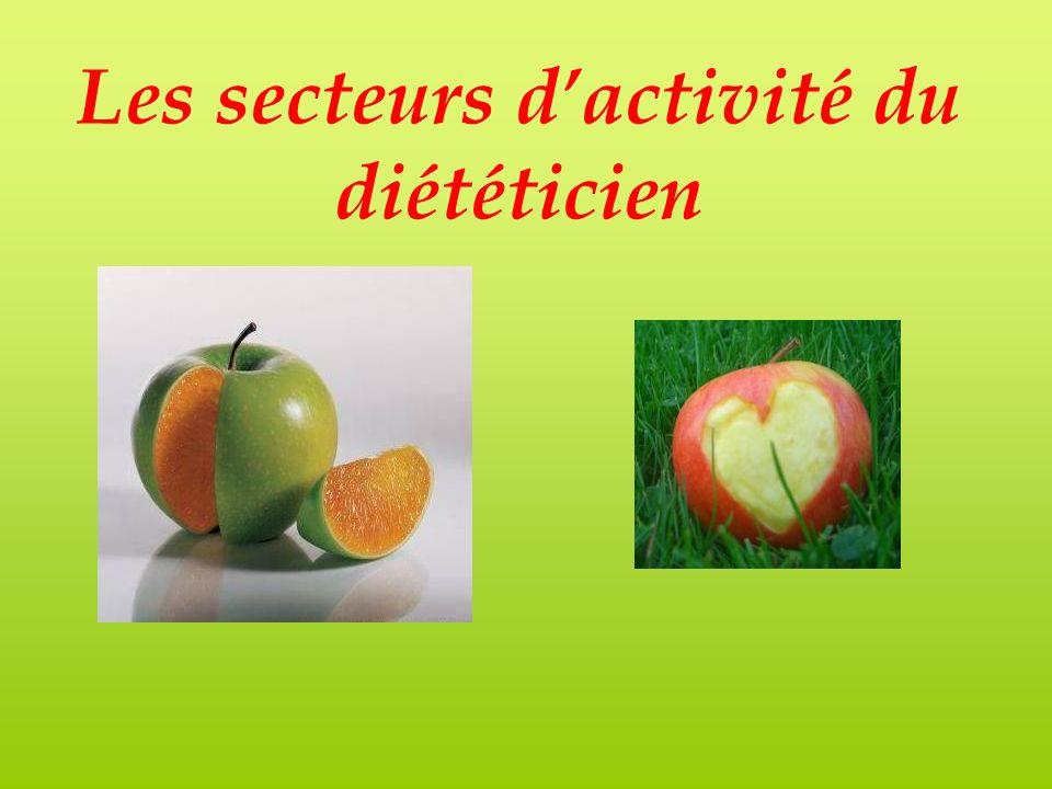 Les principaux secteurs dactivité du diététicien Milieu hospitalier Restauration collective Secteur libéral Industrie -recherche