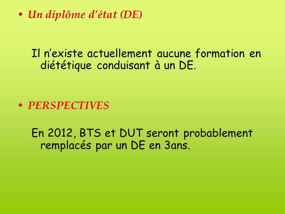 Un diplôme détat (DE) Il nexiste actuellement aucune formation en diététique conduisant à un DE.
