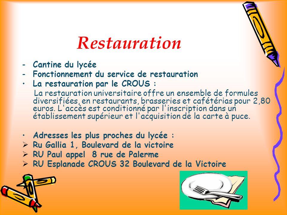 Restauration -Cantine du lycée -Fonctionnement du service de restauration La restauration par le CROUS : La restauration universitaire offre un ensemble de formules diversifiées, en restaurants, brasseries et cafétérias pour 2,80 euros.