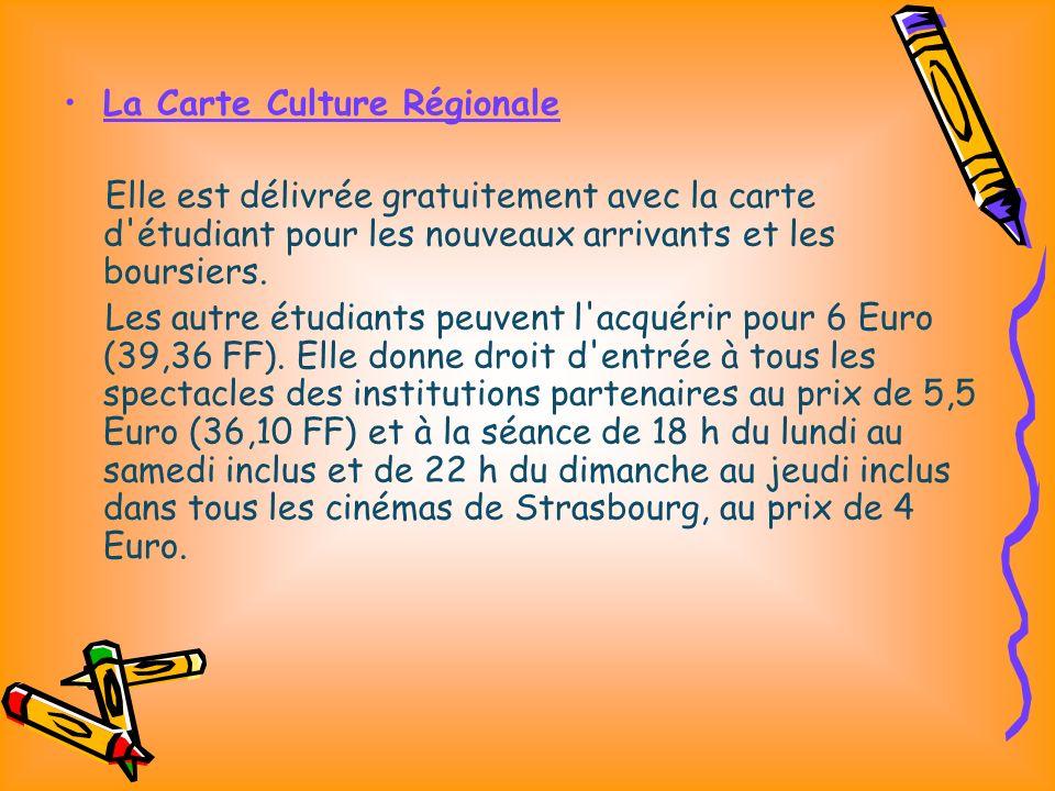 La Carte Culture Régionale Elle est délivrée gratuitement avec la carte d étudiant pour les nouveaux arrivants et les boursiers.