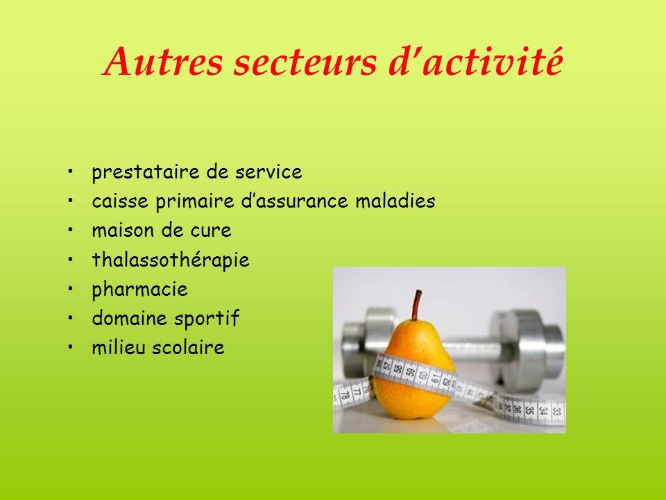 Autres secteurs dactivité prestataire de service caisse primaire dassurance maladies maison de cure thalassothérapie pharmacie domaine sportif milieu scolaire
