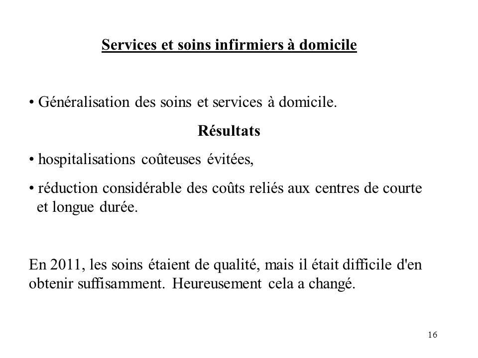 16 Services et soins infirmiers à domicile Généralisation des soins et services à domicile.