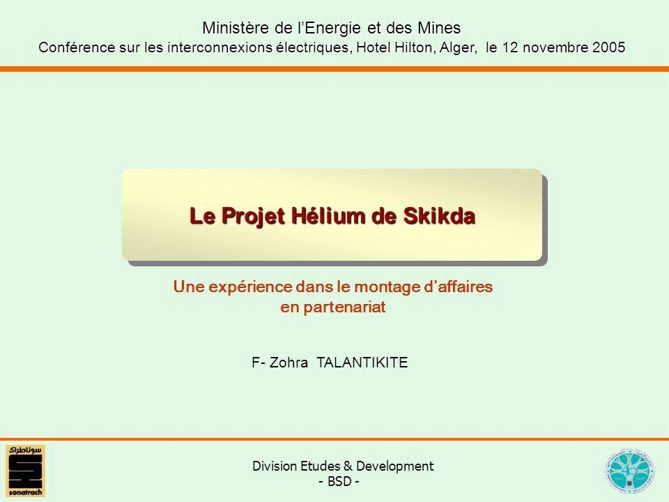 Division Etudes & Development - BSD - Le Projet Hélium de Skikda Ministère de lEnergie et des Mines Conférence sur les interconnexions électriques, Hotel Hilton, Alger, le 12 novembre 2005 Une expérience dans le montage daffaires en partenariat F- Zohra TALANTIKITE