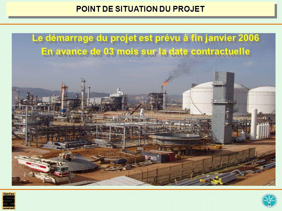 Le démarrage du projet est prévu à fin janvier 2006 En avance de 03 mois sur la date contractuelle Le démarrage du projet est prévu à fin janvier 2006