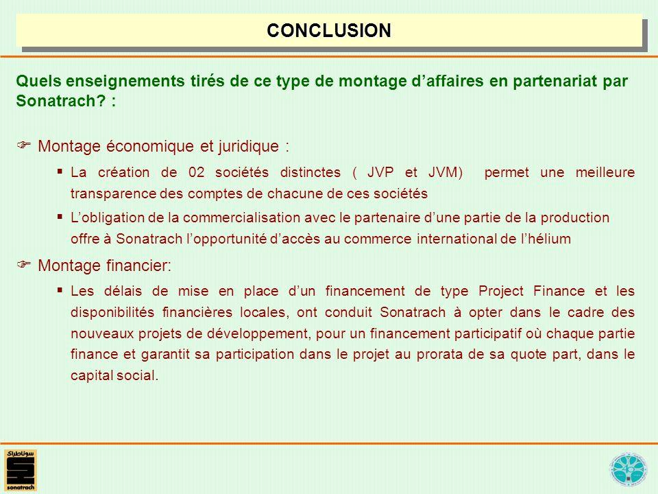 CONCLUSIONCONCLUSION Quels enseignements tirés de ce type de montage daffaires en partenariat par Sonatrach? : Montage économique et juridique : La cr
