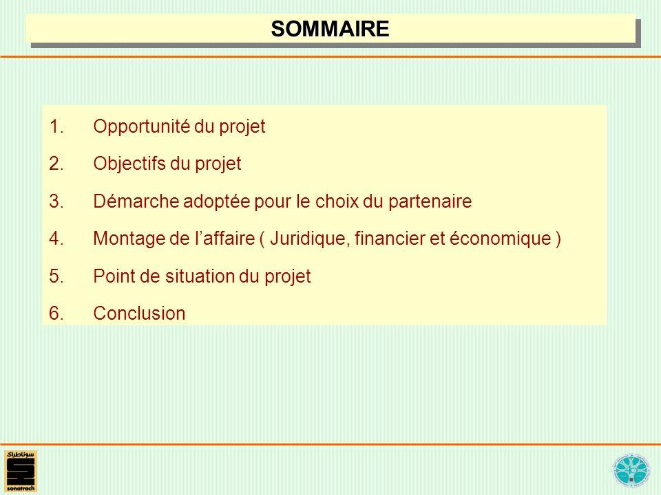 1.Opportunité du projet 2.Objectifs du projet 3.Démarche adoptée pour le choix du partenaire 4.Montage de laffaire ( Juridique, financier et économique ) 5.Point de situation du projet 6.Conclusion SOMMAIRESOMMAIRE