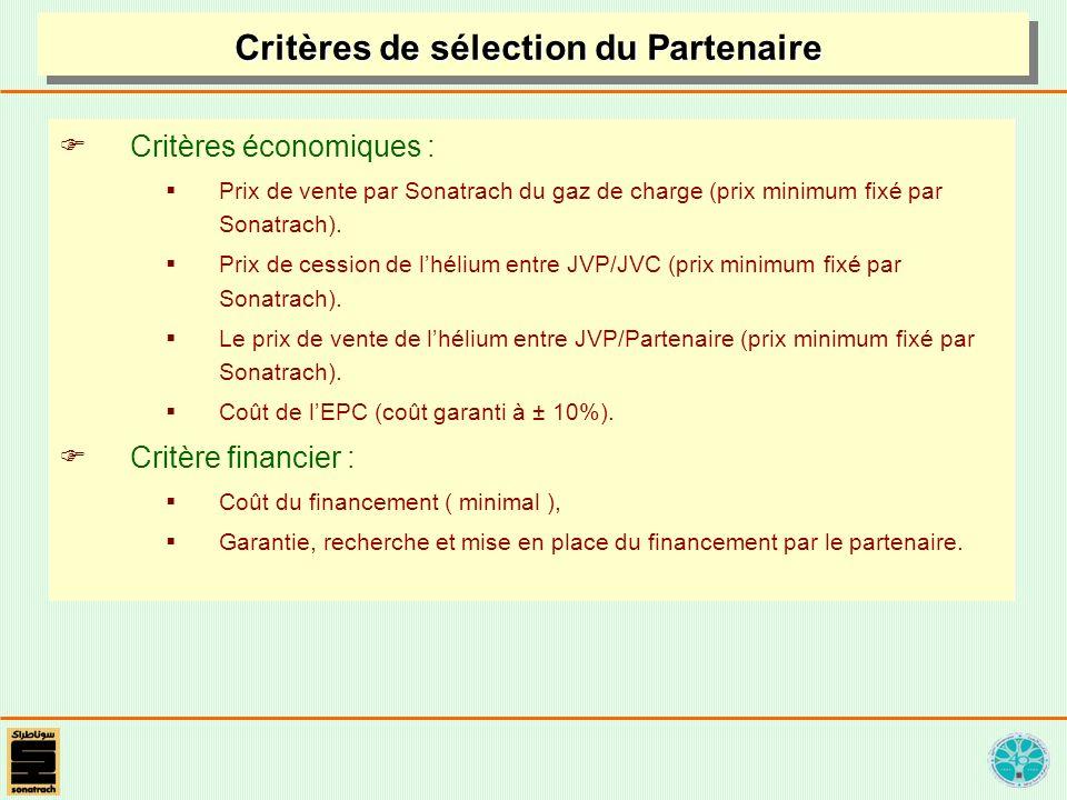 Critères économiques : Prix de vente par Sonatrach du gaz de charge (prix minimum fixé par Sonatrach). Prix de cession de lhélium entre JVP/JVC (prix