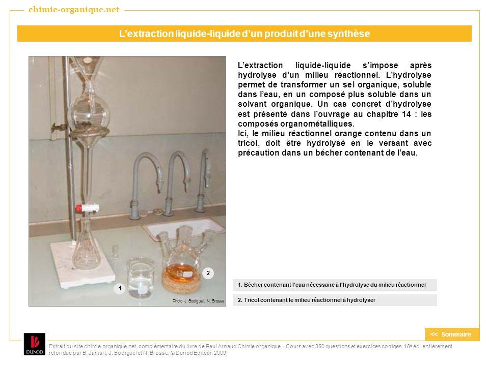 Lextraction liquide-liquide simpose après hydrolyse dun milieu réactionnel. Lhydrolyse permet de transformer un sel organique, soluble dans leau, en u