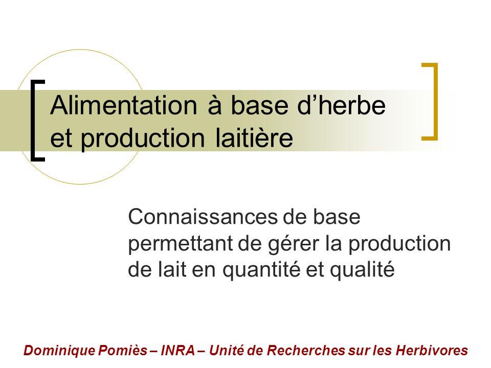 Alimentation à base dherbe et production laitière Connaissances de base permettant de gérer la production de lait en quantité et qualité Dominique Pomiès – INRA – Unité de Recherches sur les Herbivores