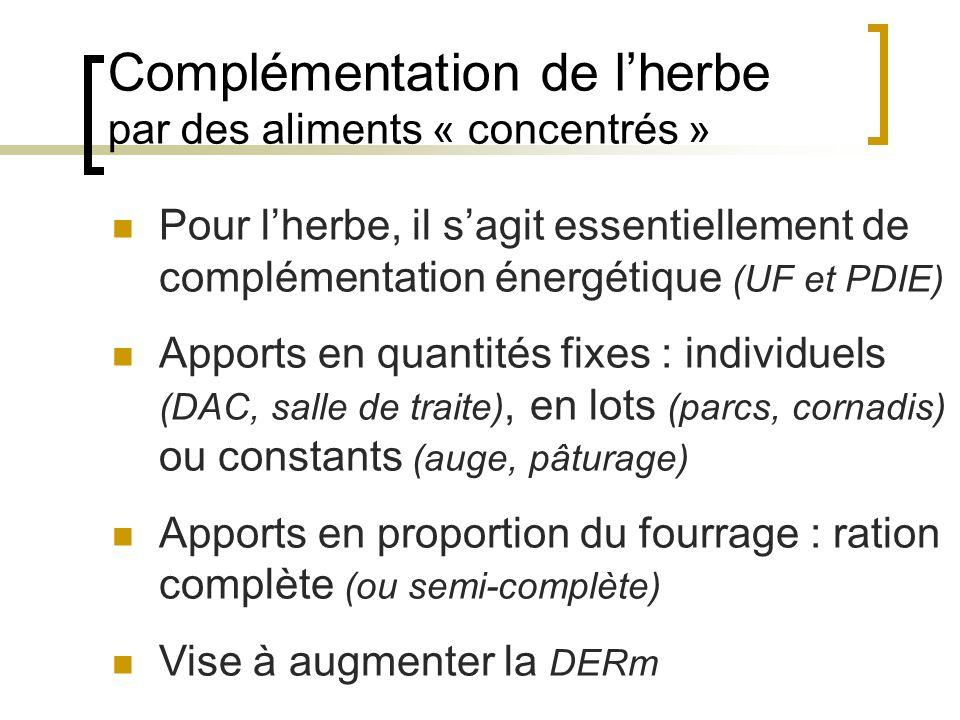 Complémentation de lherbe par des aliments « concentrés » Pour lherbe, il sagit essentiellement de complémentation énergétique (UF et PDIE) Apports en quantités fixes : individuels (DAC, salle de traite), en lots (parcs, cornadis) ou constants (auge, pâturage) Apports en proportion du fourrage : ration complète (ou semi-complète) Vise à augmenter la DERm